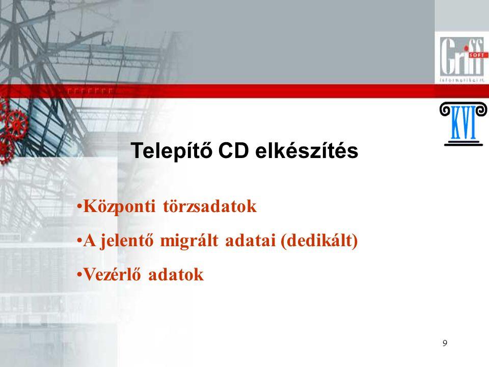 9 Telepítő CD elkészítés Központi törzsadatok A jelentő migrált adatai (dedikált) Vezérlő adatok