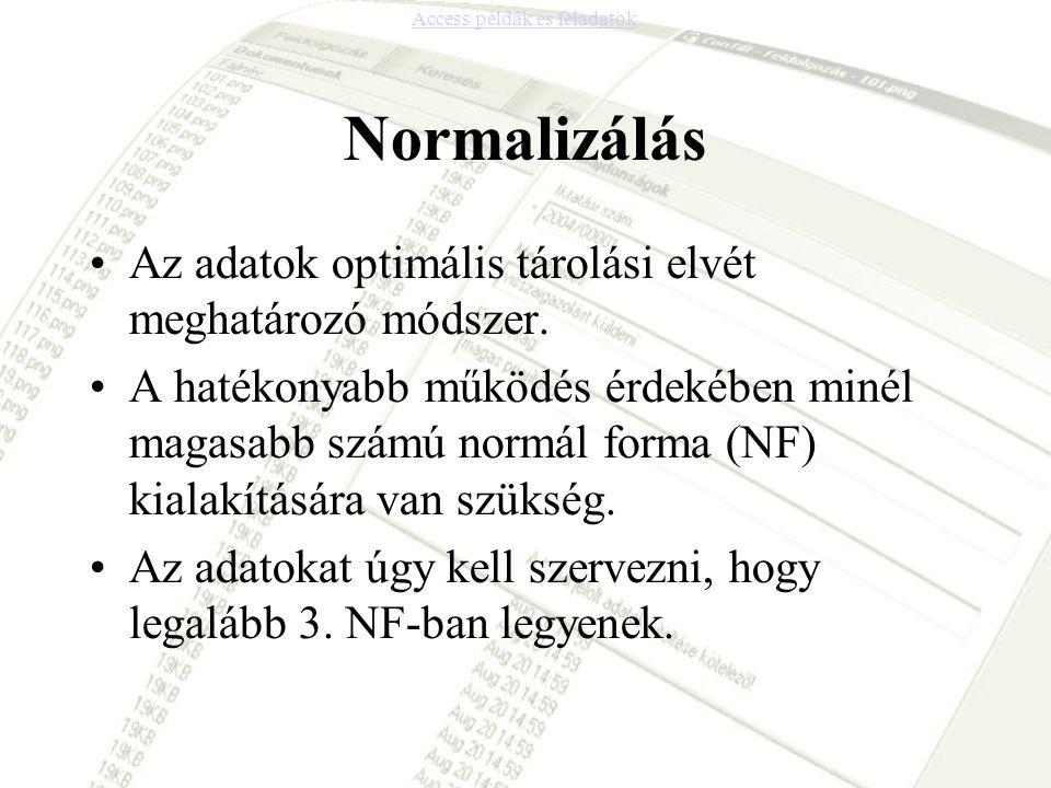Normalizálás Az adatok optimális tárolási elvét meghatározó módszer. A hatékonyabb működés érdekében minél magasabb számú normál forma (NF) kialakítás