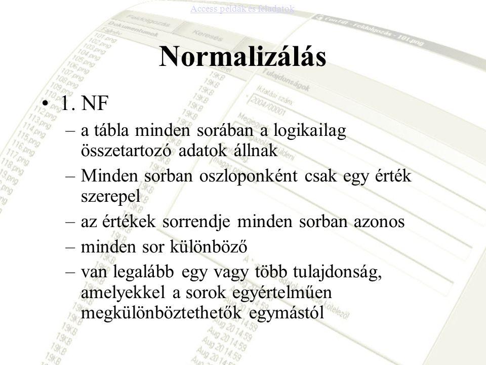 Normalizálás 1. NF –a tábla minden sorában a logikailag összetartozó adatok állnak –Minden sorban oszloponként csak egy érték szerepel –az értékek sor
