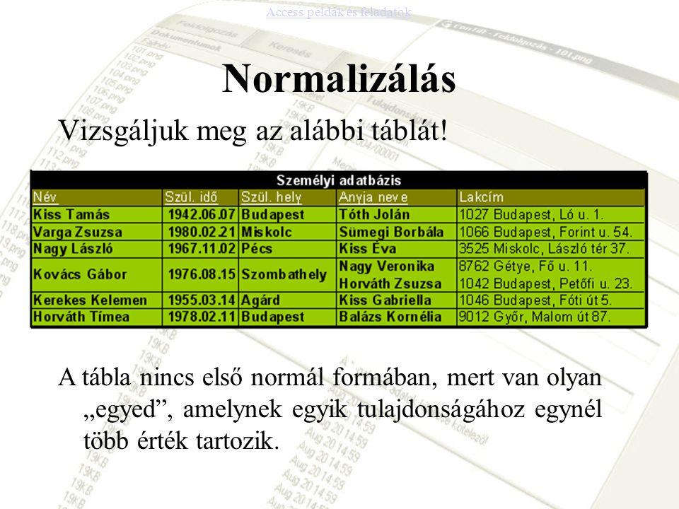 """Normalizálás Vizsgáljuk meg az alábbi táblát! A tábla nincs első normál formában, mert van olyan """"egyed"""", amelynek egyik tulajdonságához egynél több é"""