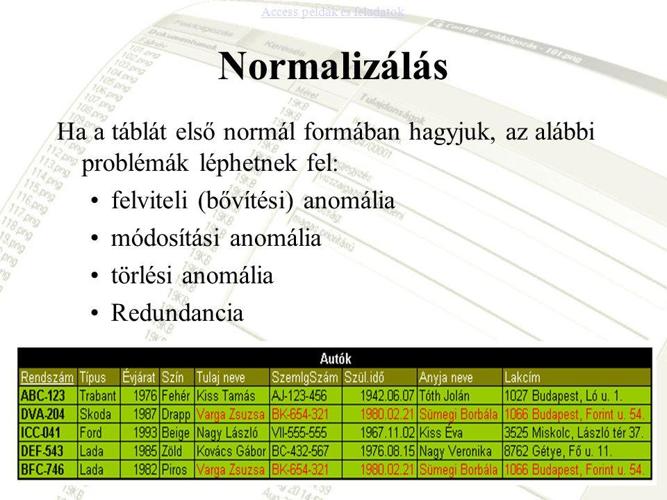 Normalizálás Ha a táblát első normál formában hagyjuk, az alábbi problémák léphetnek fel: felviteli (bővítési) anomália módosítási anomália törlési an