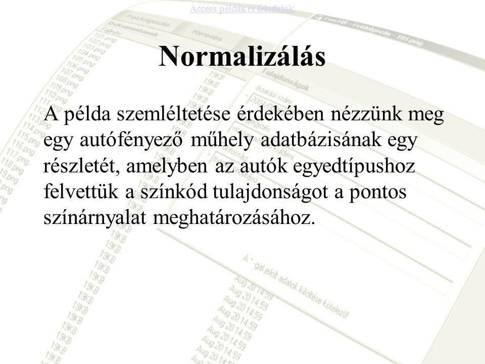 Normalizálás A példa szemléltetése érdekében nézzünk meg egy autófényező műhely adatbázisának egy részletét, amelyben az autók egyedtípushoz felvettük