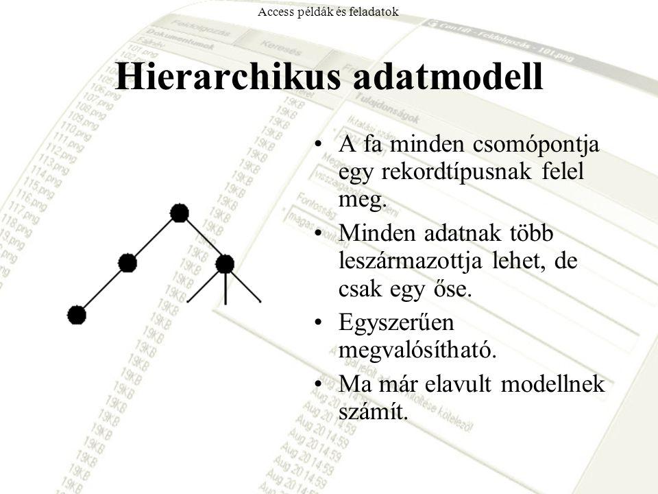 Hierarchikus adatmodell A fa minden csomópontja egy rekordtípusnak felel meg. Minden adatnak több leszármazottja lehet, de csak egy őse. Egyszerűen me