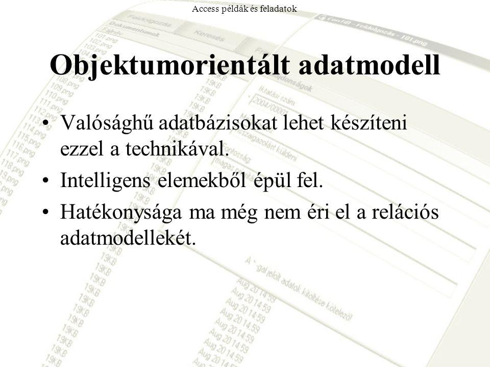 Objektumorientált adatmodell Valósághű adatbázisokat lehet készíteni ezzel a technikával. Intelligens elemekből épül fel. Hatékonysága ma még nem éri
