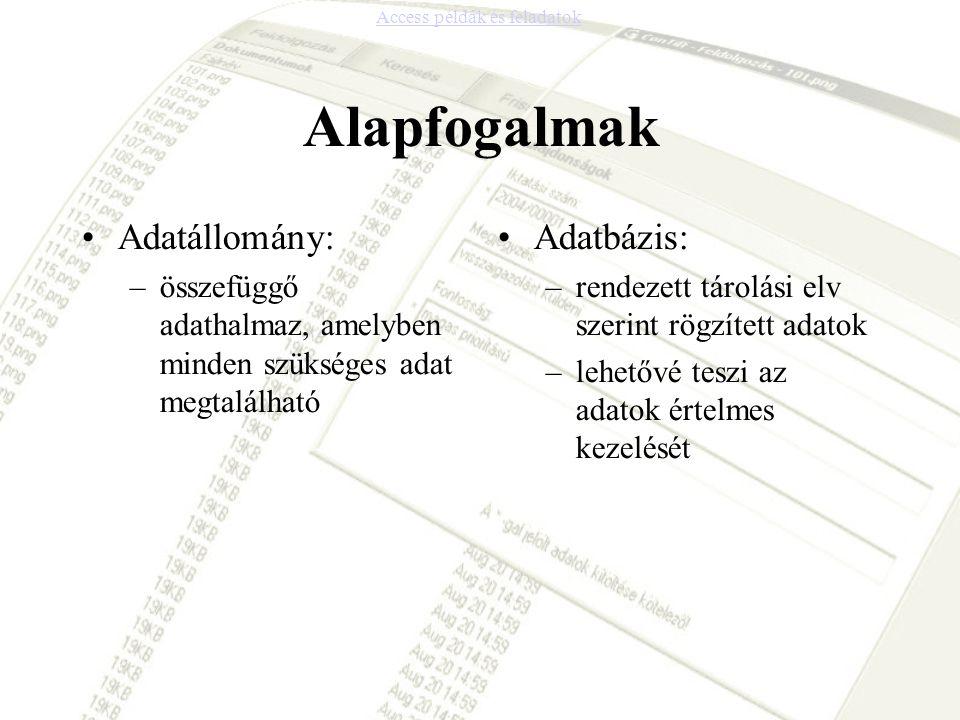 Alapfogalmak Adatállomány: –összefüggő adathalmaz, amelyben minden szükséges adat megtalálható Adatbázis: –rendezett tárolási elv szerint rögzített ad
