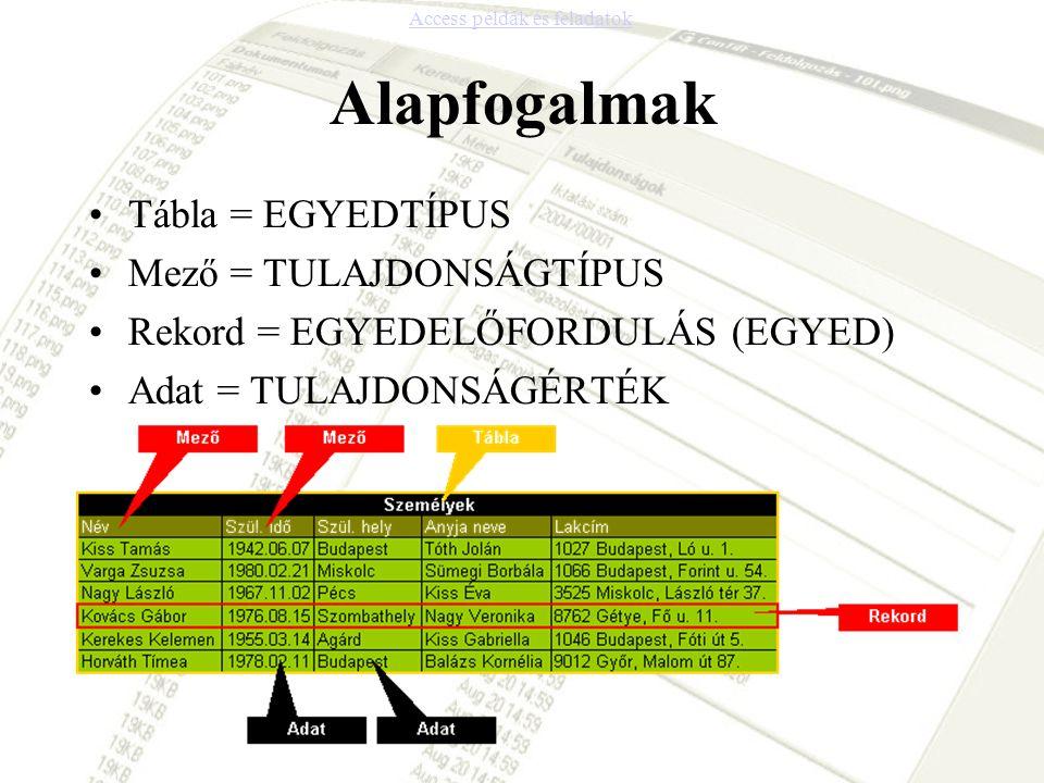 Alapfogalmak Tábla = EGYEDTÍPUS Mező = TULAJDONSÁGTÍPUS Rekord = EGYEDELŐFORDULÁS (EGYED) Adat = TULAJDONSÁGÉRTÉK Access példák és feladatok