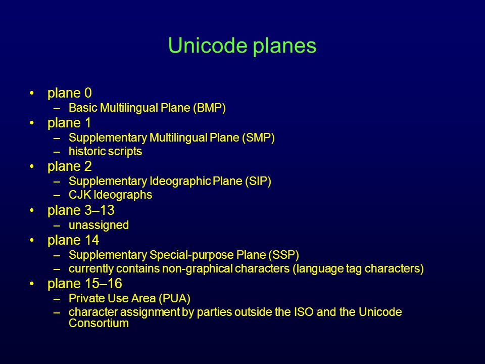 Unicode planes plane 0 –Basic Multilingual Plane (BMP) plane 1 –Supplementary Multilingual Plane (SMP) –historic scripts plane 2 –Supplementary Ideographic Plane (SIP) –CJK Ideographs plane 3–13 –unassigned plane 14 –Supplementary Special-purpose Plane (SSP) –currently contains non-graphical characters (language tag characters) plane 15–16 –Private Use Area (PUA) –character assignment by parties outside the ISO and the Unicode Consortium