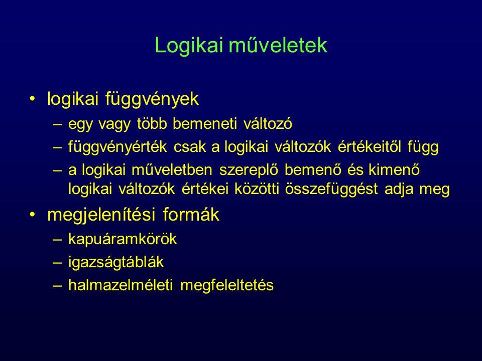Logikai műveletek logikai függvények –egy vagy több bemeneti változó –függvényérték csak a logikai változók értékeitől függ –a logikai műveletben szereplő bemenő és kimenő logikai változók értékei közötti összefüggést adja meg megjelenítési formák –kapuáramkörök –igazságtáblák –halmazelméleti megfeleltetés