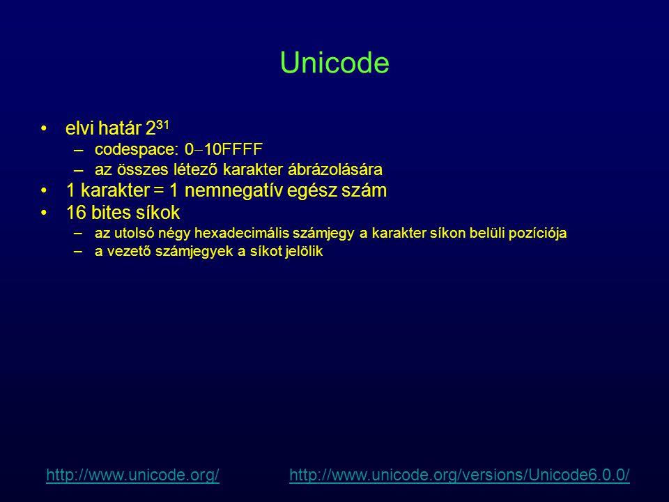 Unicode planes Plane 0, Unicode alsó 16 bites tartománya, Basic Multilingual Plane (BMP) –alsó 128 érték: ASCII –alsó 256 érték: Latin-1 –modern világ leggyakrabban használt karakterei, ritka vagy történelmi karakterek Plane 1, Supplementary Multilingual Plane (SMP) –ritkán használt karakterek: gót betűk, hangjegyek, dominó karakterek Plane 2, Supplementary Ideographic Plane (SIP) –nagyon ritka CJK karakters Plane 14, Supplementary Special-purpose Plane (SSP) –kimaradt formázási karakterek Planes 15 and 16, Private Use Planes http://www.unicode.org/http://www.unicode.org/ http://www.unicode.org/versions/Unicode6.0.0/http://www.unicode.org/versions/Unicode6.0.0/