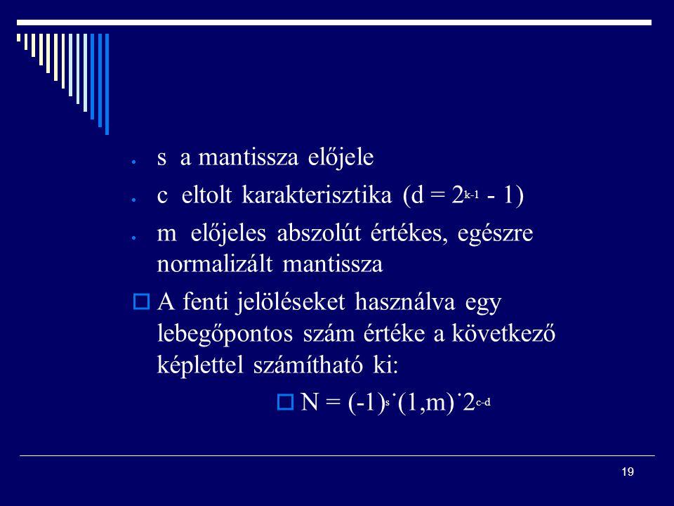  s a mantissza előjele  c eltolt karakterisztika (d = 2 k-1 - 1)  m előjeles abszolút értékes, egészre normalizált mantissza  A fenti jelöléseket használva egy lebegőpontos szám értéke a következő képlettel számítható ki:  N = (-1) s ˙(1,m)˙2 c-d 19