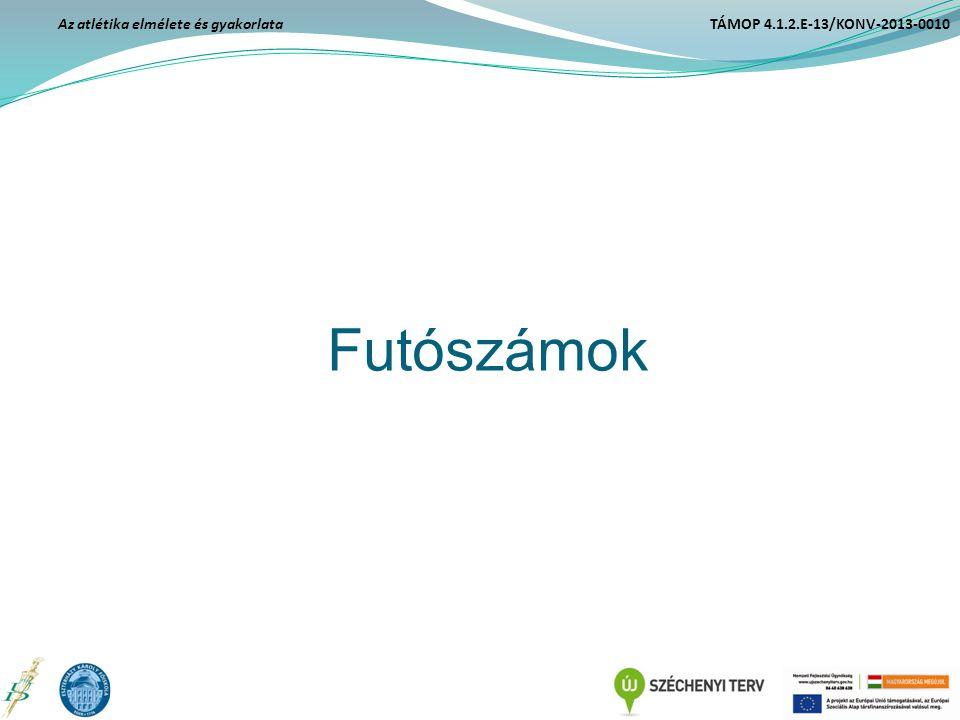 Futószámok Az atlétika elmélete és gyakorlata TÁMOP 4.1.2.E-13/KONV-2013-0010
