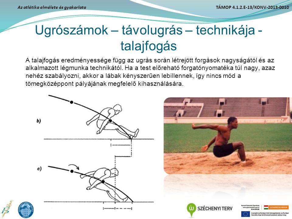 Ugrószámok – távolugrás – technikája - talajfogás A talajfogás eredményessége függ az ugrás során létrejött forgások nagyságától és az alkalmazott lég
