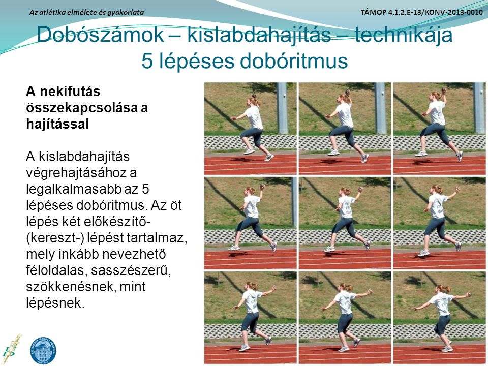 Dobószámok – kislabdahajítás – technikája 5 lépéses dobóritmus A nekifutás összekapcsolása a hajítással A kislabdahajítás végrehajtásához a legalkalma