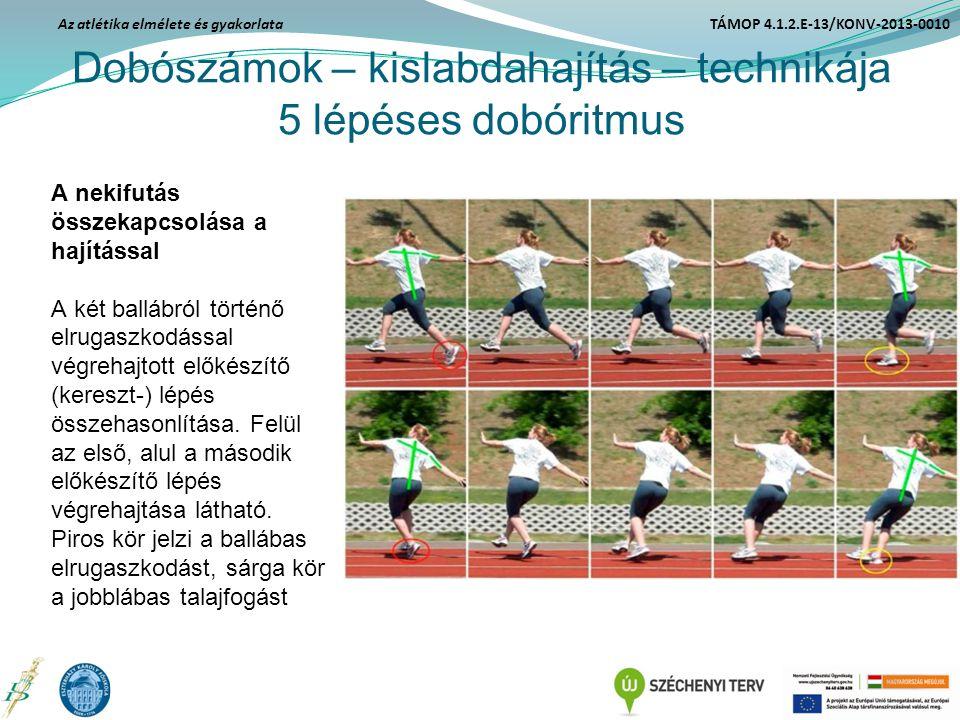 Dobószámok – kislabdahajítás – technikája 5 lépéses dobóritmus A nekifutás összekapcsolása a hajítással A két ballábról történő elrugaszkodással végre