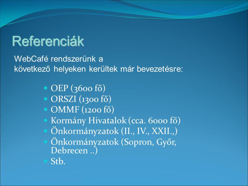 Referenciák OEP (3600 fő) ORSZI (1300 fő) OMMF (1200 fő) Kormány Hivatalok (cca.