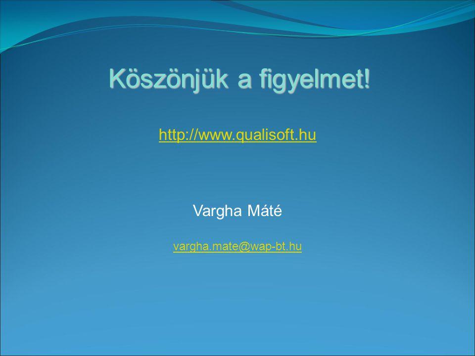 Köszönjük a figyelmet! http://www.qualisoft.hu Vargha Máté vargha.mate@wap-bt.hu