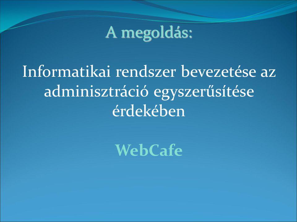 A megoldás: A megoldás: Informatikai rendszer bevezetése az adminisztráció egyszerűsítése érdekében WebCafe