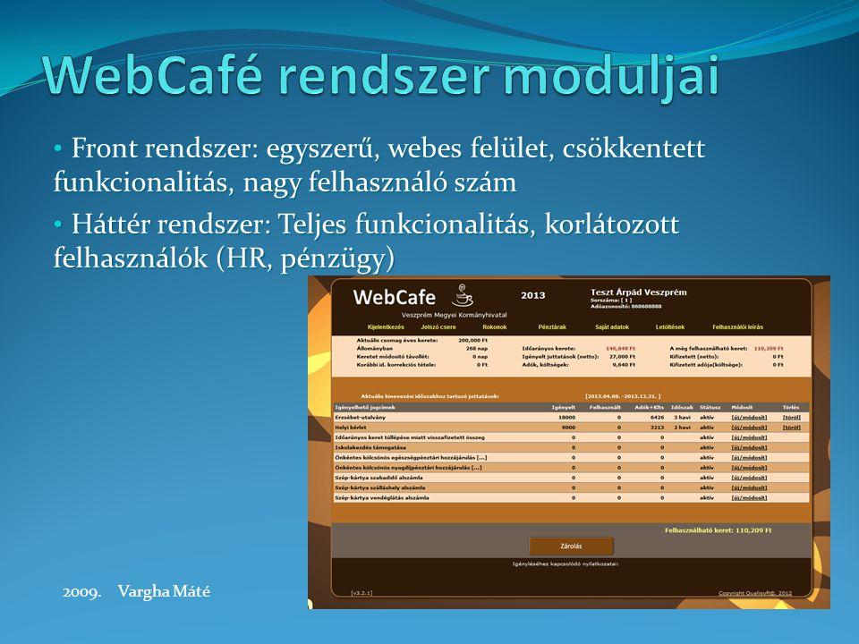 Front rendszer: egyszerű, webes felület, csökkentett funkcionalitás, nagy felhasználó szám Front rendszer: egyszerű, webes felület, csökkentett funkcionalitás, nagy felhasználó szám Háttér rendszer: Teljes funkcionalitás, korlátozott felhasználók (HR, pénzügy) Háttér rendszer: Teljes funkcionalitás, korlátozott felhasználók (HR, pénzügy) 2009.