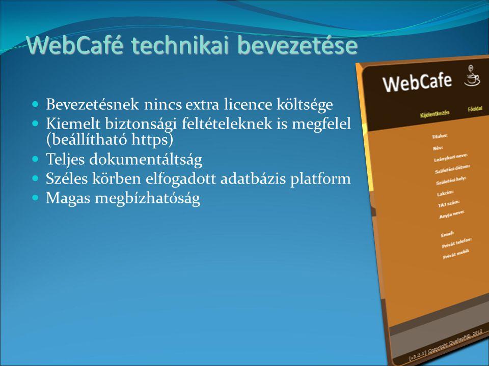 WebCafé technikai bevezetése Bevezetésnek nincs extra licence költsége Kiemelt biztonsági feltételeknek is megfelel (beállítható https) Teljes dokumentáltság Széles körben elfogadott adatbázis platform Magas megbízhatóság