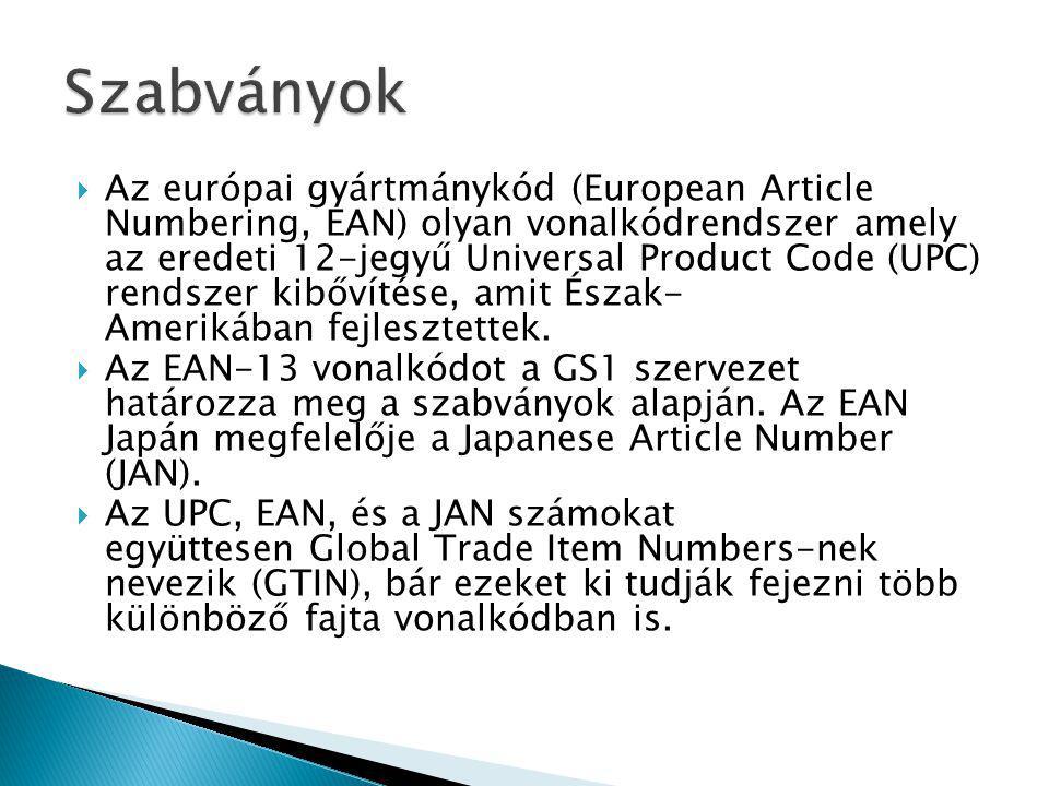  Az európai gyártmánykód (European Article Numbering, EAN) olyan vonalkódrendszer amely az eredeti 12-jegyű Universal Product Code (UPC) rendszer kibővítése, amit Észak- Amerikában fejlesztettek.