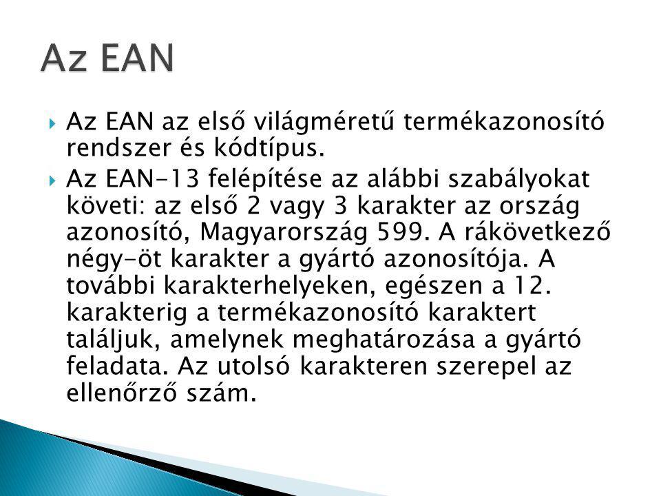  Az EAN az első világméretű termékazonosító rendszer és kódtípus.