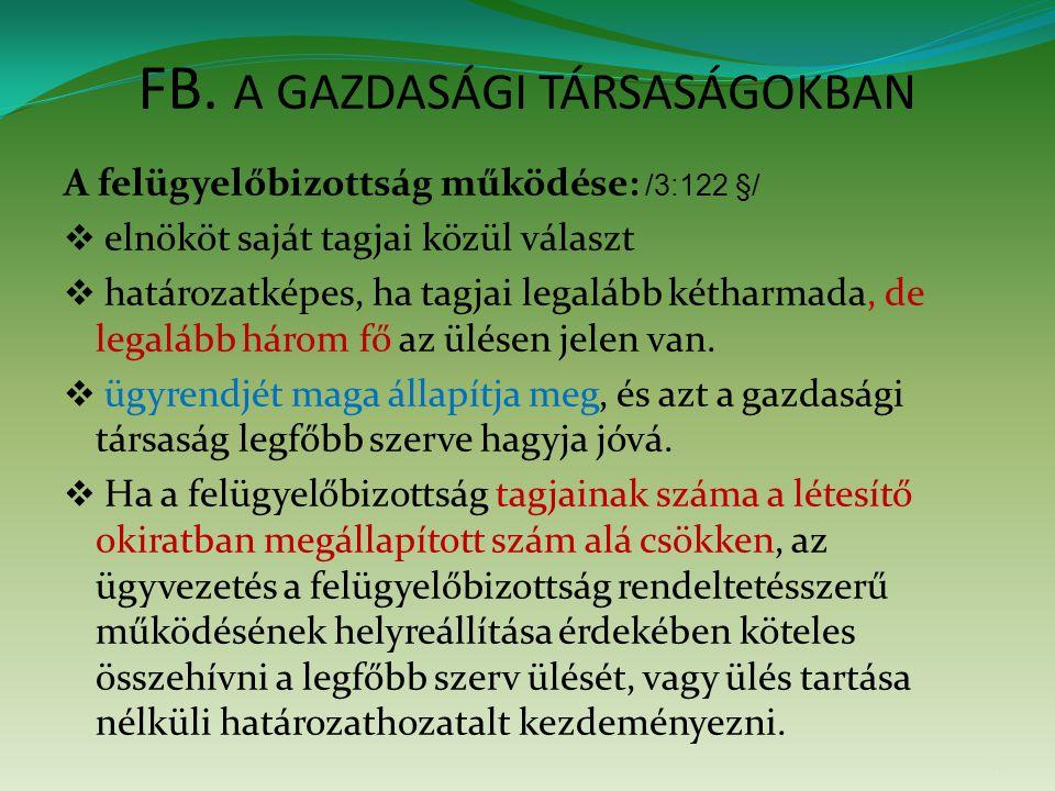 FB. A GAZDASÁGI TÁRSASÁGOKBAN A felügyelőbizottság működése: /3:122 §/  elnököt saját tagjai közül választ  határozatképes, ha tagjai legalább kétha