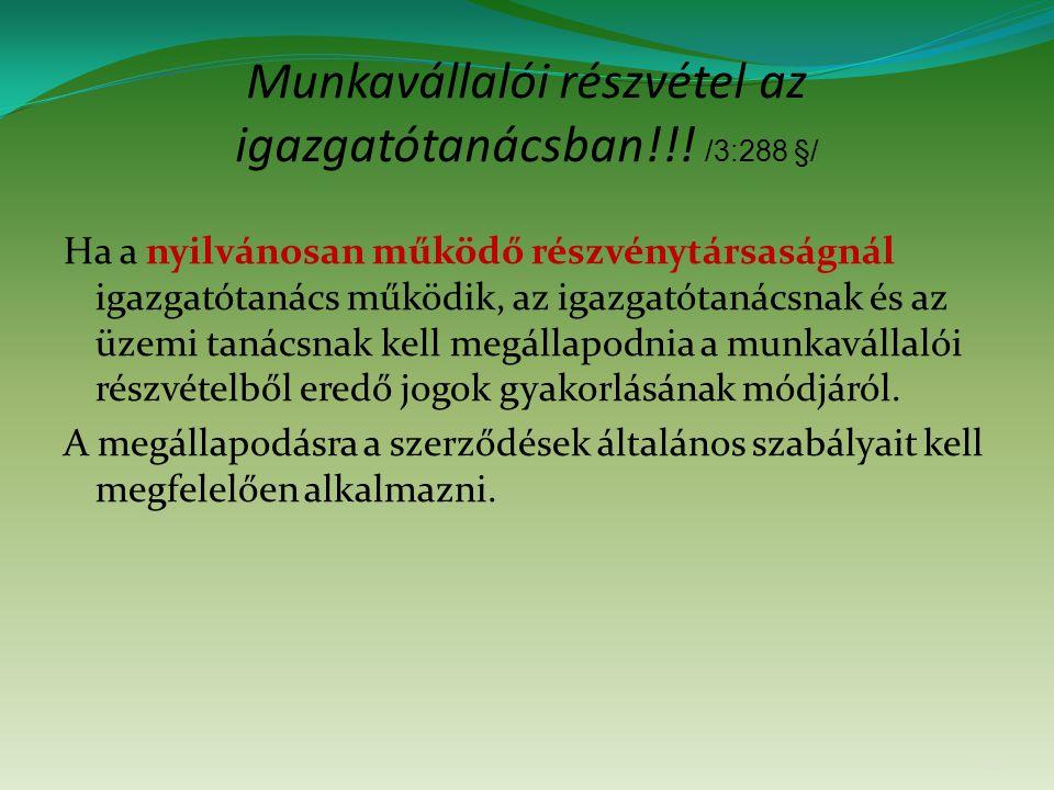 Munkavállalói részvétel az igazgatótanácsban!!.