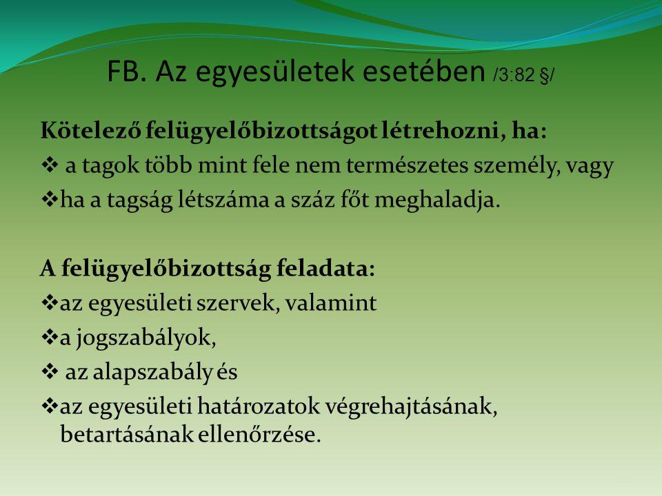 FB. Az egyesületek esetében /3:82 §/ Kötelező felügyelőbizottságot létrehozni, ha:  a tagok több mint fele nem természetes személy, vagy  ha a tagsá