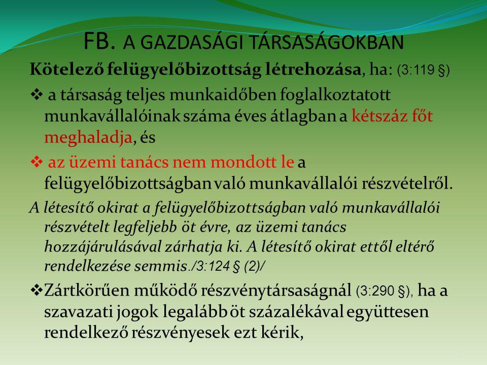 FB. A GAZDASÁGI TÁRSASÁGOKBAN Kötelező felügyelőbizottság létrehozása, ha: (3:119 §)  a társaság teljes munkaidőben foglalkoztatott munkavállalóinak