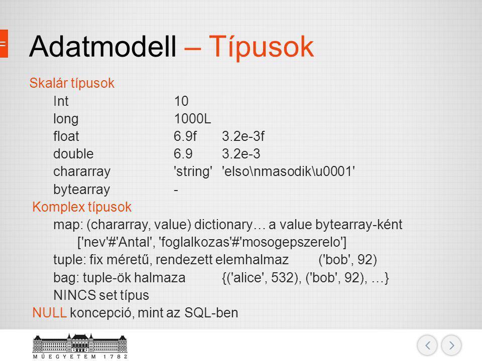 Adatmodell – Típusok Skalár típusok Int10 long1000L float6.9f3.2e-3f double6.93.2e-3 chararray'string''elso\nmasodik\u0001' bytearray- Komplex típusok