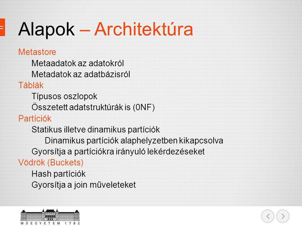 Alapok – Architektúra Metastore Metaadatok az adatokról Metadatok az adatbázisról Táblák Típusos oszlopok Összetett adatstruktúrák is (0NF) Partíciók