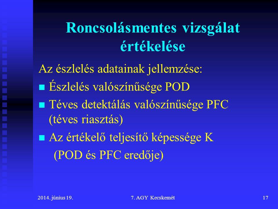 Roncsolásmentes vizsgálat értékelése Az észlelés adatainak jellemzése: Észlelés valószínűsége POD Téves detektálás valószínűsége PFC (téves riasztás) Az értékelő teljesítő képessége K (POD és PFC eredője) 2014.