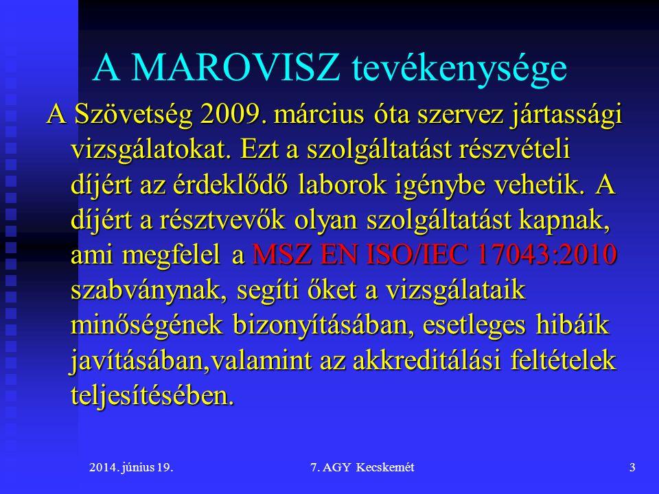 2014.június 19.7. AGY Kecskemét3 A MAROVISZ tevékenysége A Szövetség 2009.