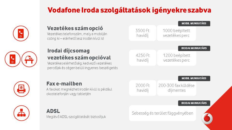 Vodafone Iroda szolgáltatások igényekre szabva Vezetékes szám opció Vezetékes telefonszám, mely a mobilján csöng ki – elérhető lesz irodán kívül is.