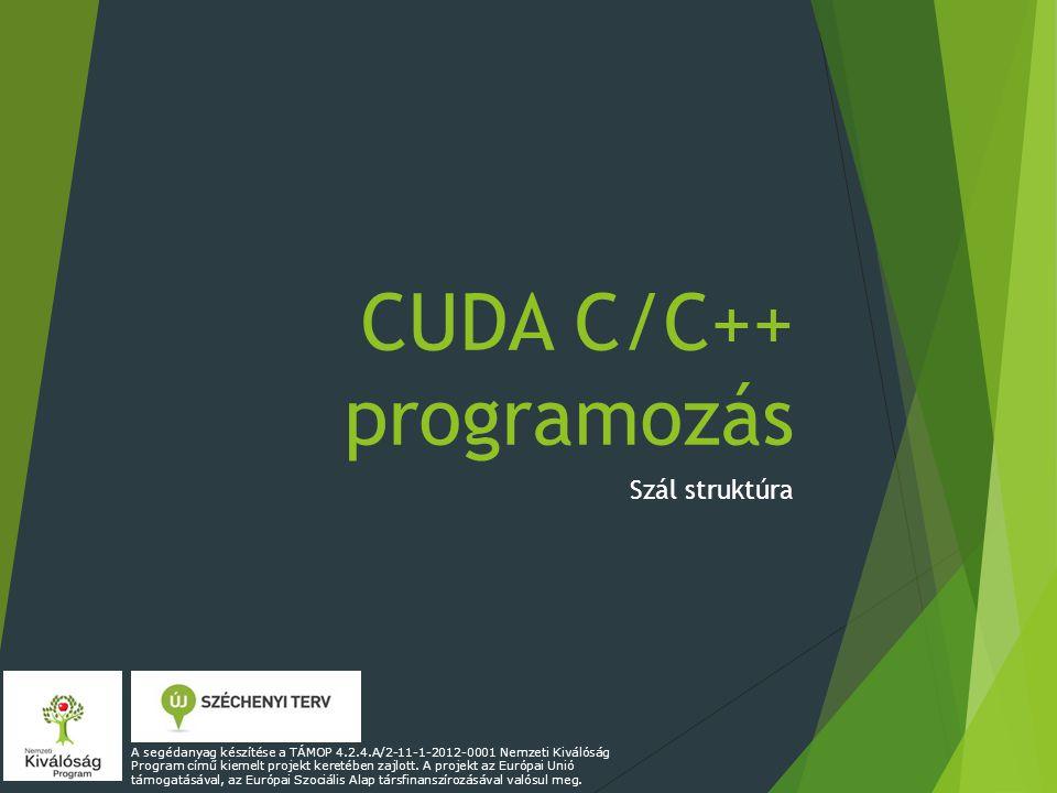 CUDA C/C++ programozás Szál struktúra A segédanyag készítése a TÁMOP 4.2.4.A/2-11-1-2012-0001 Nemzeti Kiválóság Program című kiemelt projekt keretében zajlott.