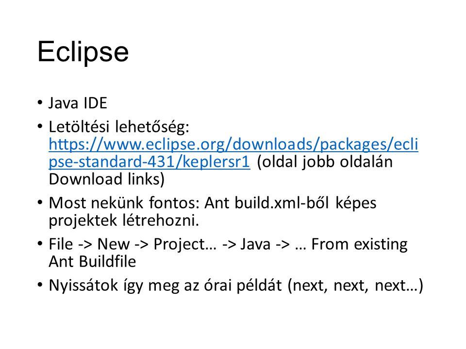 Eclipse Java IDE Letöltési lehetőség: https://www.eclipse.org/downloads/packages/ecli pse-standard-431/keplersr1 (oldal jobb oldalán Download links) h