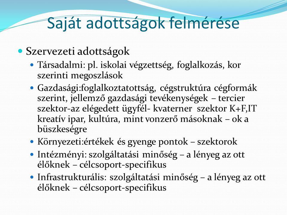 Saját adottságok felmérése Szervezeti adottságok Társadalmi: pl.