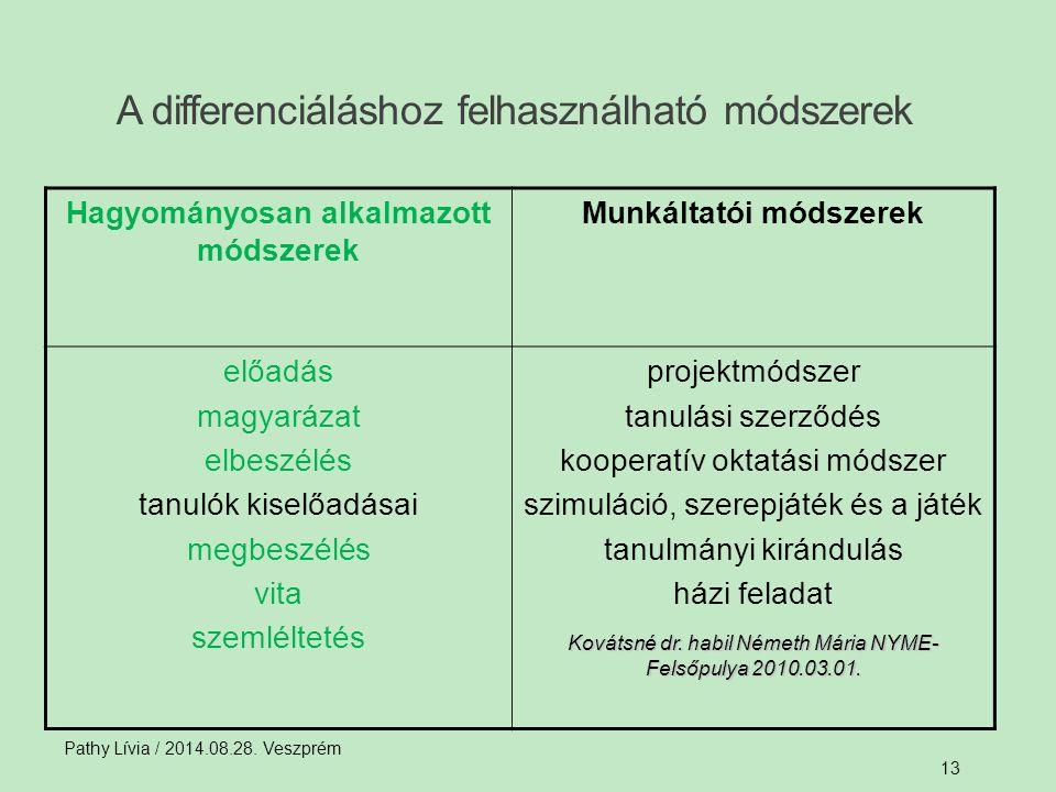 A differenciáláshoz felhasználható módszerek Pathy Lívia / 2014.08.28. Veszprém 13 Hagyományosan alkalmazott módszerek Munkáltatói módszerek előadás m
