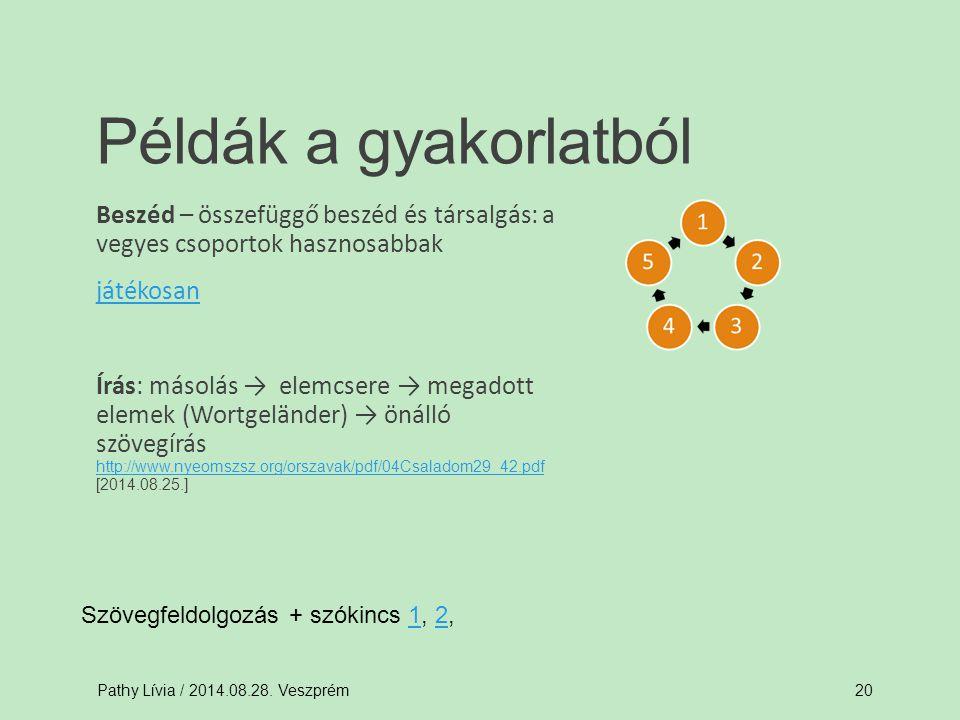 Beszéd – összefüggő beszéd és társalgás: a vegyes csoportok hasznosabbak játékosan Írás: másolás → elemcsere → megadott elemek (Wortgeländer) → önálló