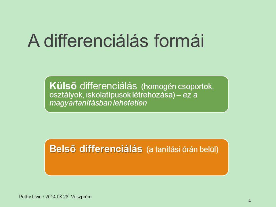 A differenciálás formái Pathy Lívia / 2014.08.28. Veszprém 4 Külső differenciálás (homogén csoportok, osztályok, iskolatípusok létrehozása) – ez a mag