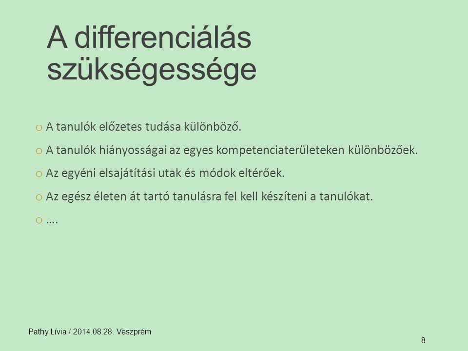 Differenciálni lehet: − ismeretelsajátítás (mód, idő) − gyakorlás − ellenőrzés − értékelés területén Pathy Lívia / 2014.08.28.