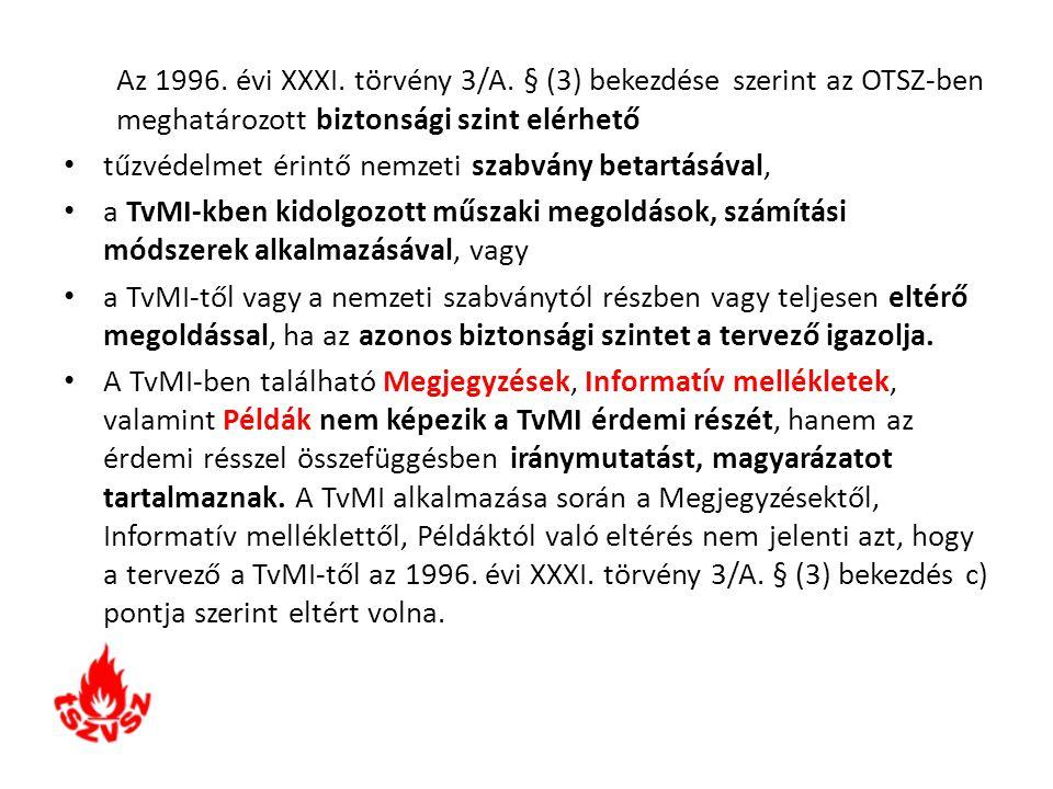 Az 1996. évi XXXI. törvény 3/A. § (3) bekezdése szerint az OTSZ-ben meghatározott biztonsági szint elérhető tűzvédelmet érintő nemzeti szabvány betart