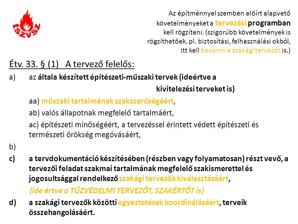 Étv. 33. § (1) A tervező felelős: a)az általa készített építészeti-műszaki tervek (ideértve a kivitelezési terveket is) aa) műszaki tartalmának szaksz