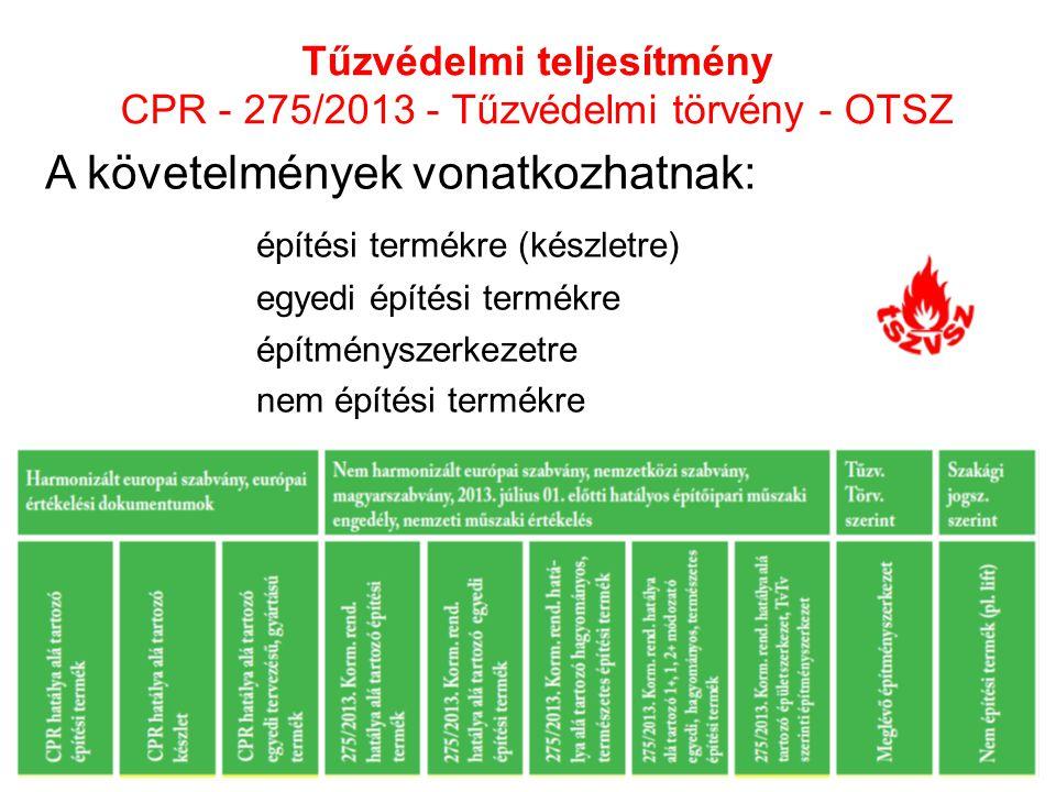 Tűzvédelmi teljesítmény CPR - 275/2013 - Tűzvédelmi törvény - OTSZ A követelmények vonatkozhatnak: építési termékre (készletre) egyedi építési termékr