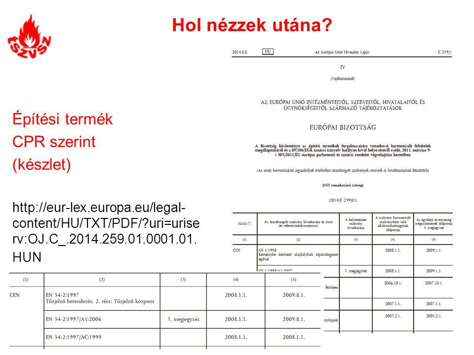 Hol nézzek utána? Építési termék CPR szerint (készlet) http://eur-lex.europa.eu/legal- content/HU/TXT/PDF/?uri=urise rv:OJ.C_.2014.259.01.0001.01. HUN