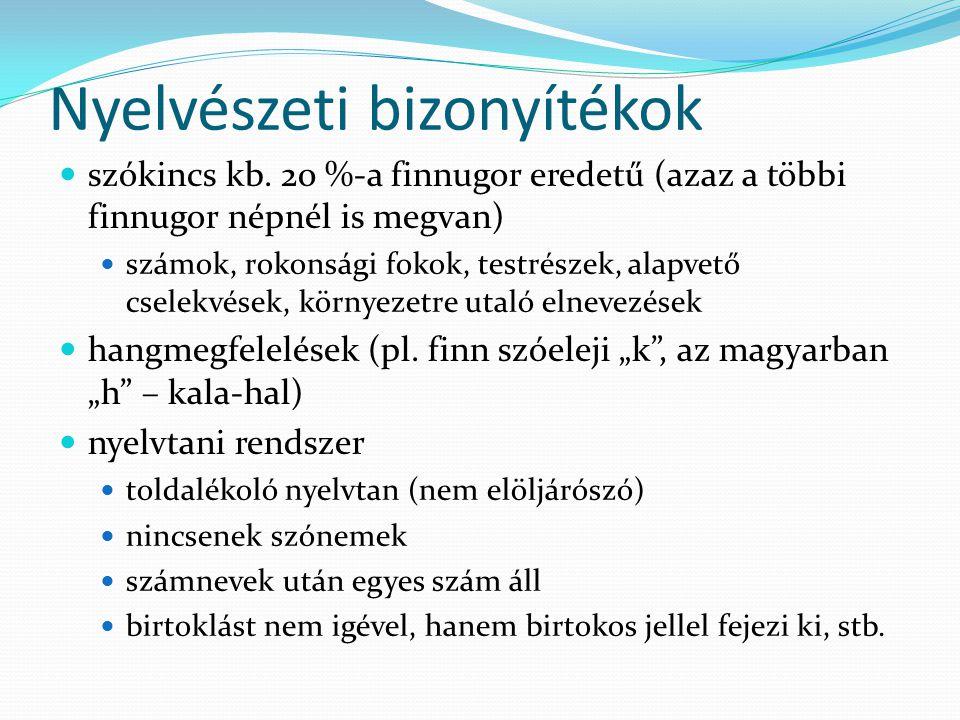 Nyelvészeti bizonyítékok szókincs kb. 20 %-a finnugor eredetű (azaz a többi finnugor népnél is megvan) számok, rokonsági fokok, testrészek, alapvető c