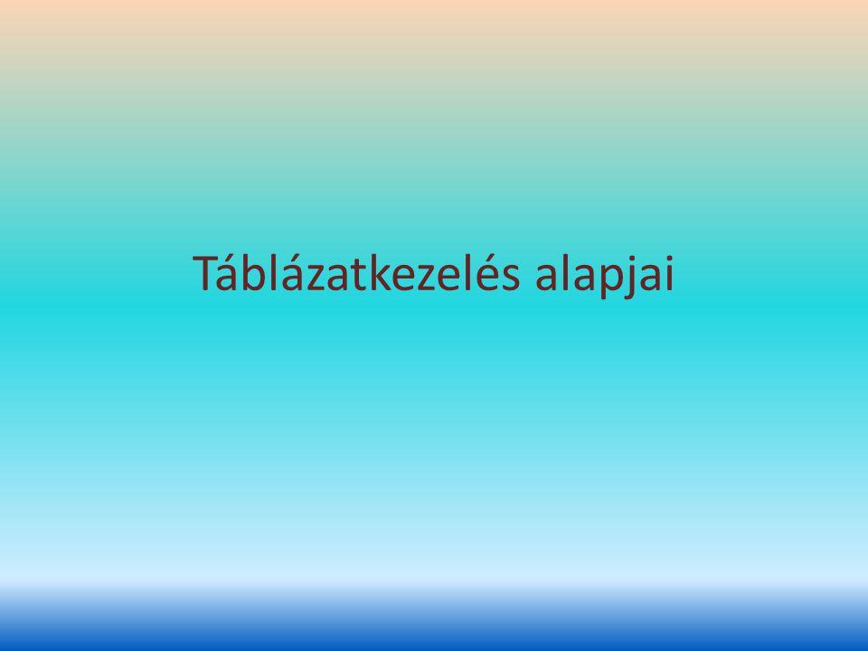Táblázat célja Szövegszerkesztőben: – Adataink rendezett megjelenítése Táblázatkezelőkben: – Adataink rendezett megjelenítése mellett, számítások, statisztikai- és egyszerűbb adatbázis műveletek elvégzése adatainkkal