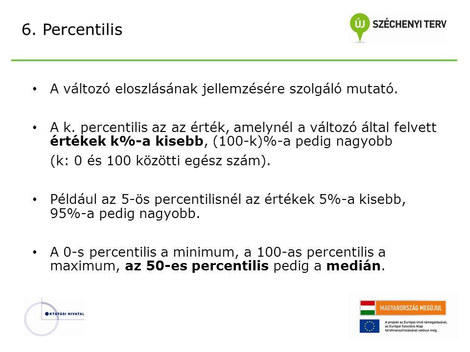 6.Percentilis A változó eloszlásának jellemzésére szolgáló mutató.