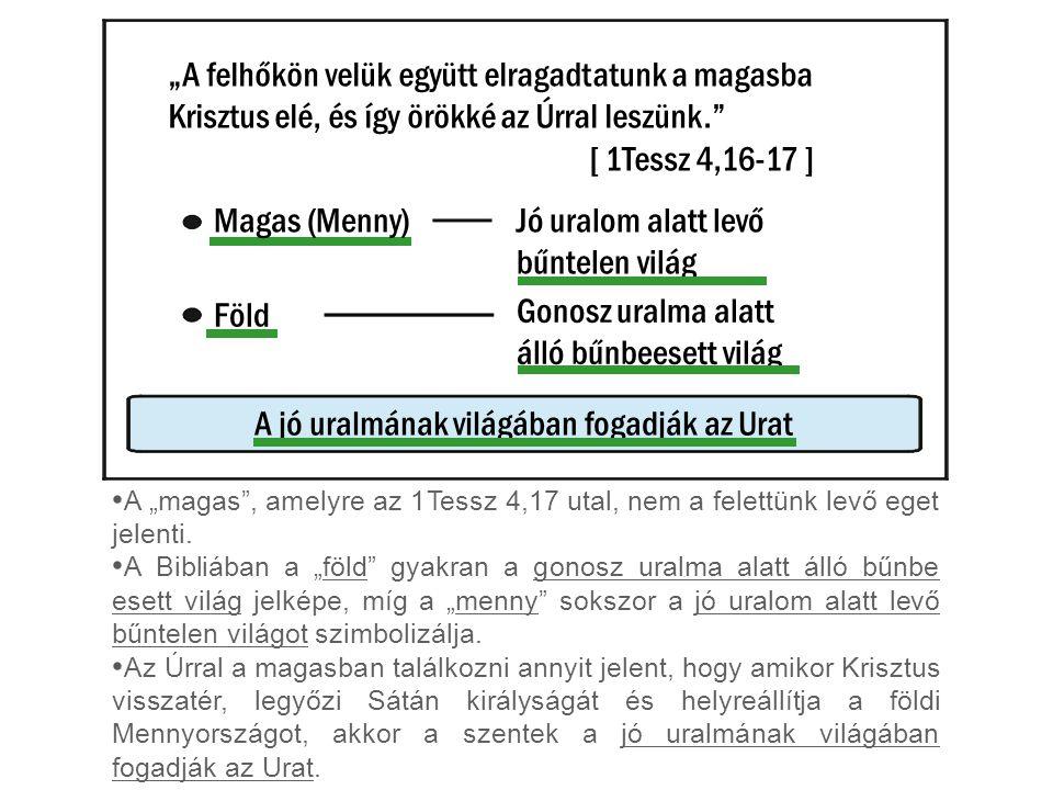 """""""A felhőkön velük együtt elragadtatunk a magasba Krisztus elé, és így örökké az Úrral leszünk. [ 1Tessz 4,16-17 ] Magas (Menny) A """"magas , amelyre az 1Tessz 4,17 utal, nem a felettünk levő eget jelenti."""