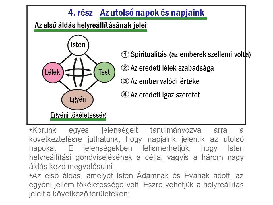 4. rész Az utolsó napok és napjaink Az első áldás helyreállításának jelei Isten TestLélek Egyén Egyéni tökéletesség Korunk egyes jelenségeit tanulmány